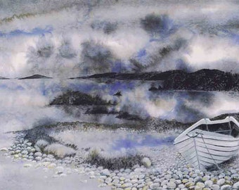 """LIMITED EDITION Art Print -""""Cobble bay"""" -A3 sea print, wall art, boat painting, blue grey art, sea painting from a painting by Dave Marsh"""