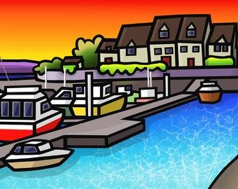 Port Dinorwic Harbour - colourful fine art print by Amanda Hone