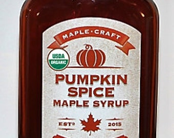 ON SALE!  Organic Pumpkin Spice Maple Syrup (with resealable hand-dipped wax sealed top)