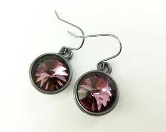 Antique Pink Drops Mauve Earrings Crystal Dangle Earrings Dark Silver Drop Earrings Pinkish Purple