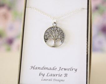 Tree of Life Charm Necklace, Friendship Gift, Sterling Silver, Bestie Gift, Trees, Thank you card, Nature, Tree of Wisdom