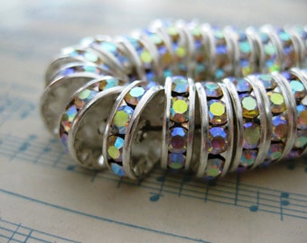 4 pc - Large Silver Plated Aurora Borealis Swarovski Crystal Rondelle Bead -  12 mm