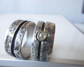 Wedding rings with Rosecut diamond green Grey bicolor Weddingrings Rosecut Grey Handmade set