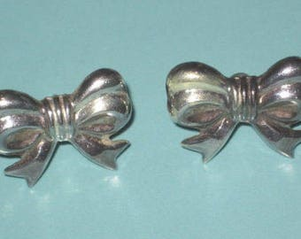 Vintage 1980s Sterling Silver 925 Puffy BOW Post Pierced EARRINGS