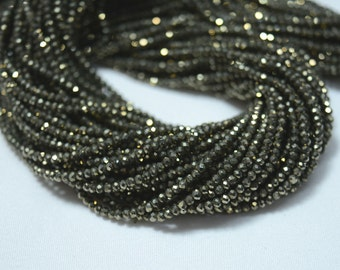 Natural Pyrite Beads, Pyrite Gem Stone, 2 mm Beads, Faceted Rondelle, Gemstone For Jewelry, 13.5 Inch Strand