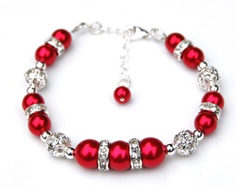 Red Bracelet, Red Wedding Jewelry, Red Bridesmaid, Bridesmaid Jewelry, Red Pearl Bridesmaid Bracelet, Bridal Party, Festive Bracelet