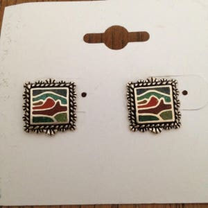 Carolyn Pollack Sterling Stone Inlay Earrings