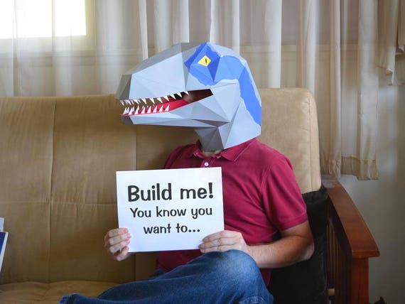 Dinosaur Mask Pre-Cut Velociraptor Mask Kit Build a Raptor