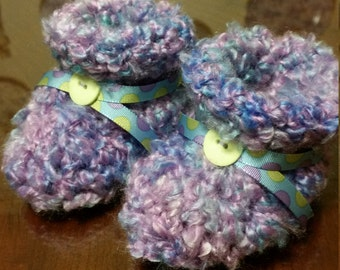 Lavender, Aqua and Blue Crochet Baby Booties with Ribbon & Button 3-9 mo.