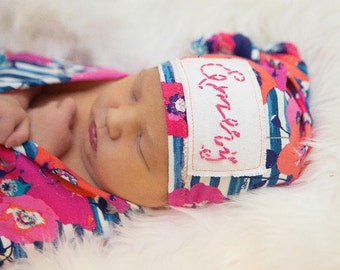 Newborn Hat, Name Hat, Hospital Hat, Custom Name Hat, Baby Hat, Photo prop Hat, Baby Name Hat