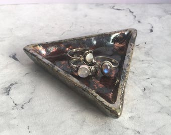 Metallic Triangular Ring Plate, Raku Fired Trinket Dish, Geometric Ring Bowl, Jewellery Storage, Jewelry Plate, Gold Pottery Plate, New Home
