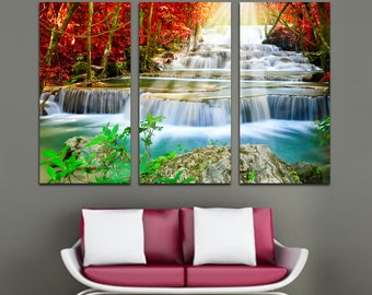 Forest Waterfall Cascade - 3 Panel Split, Triptych Canvas Print. Nature photography wall art for living room  wall decor. Red, green autumn