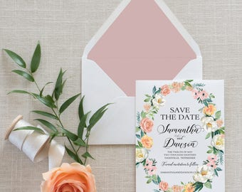 Blush Floral Wreath Calligraphy Save the Date, Flat Card, Postcard | Deposit