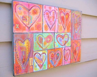 Eleven Hearts, Original Acrylic Painting on Wood, Heart Painting, Heart Wall Art, Intuitive Art, Abstract Art, by Fig Jam Studio