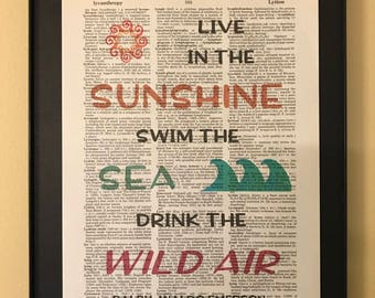 Live in the sunshine swim the sea drink the wild air; Ralph Waldo Emerson; Beach house; Dictionary Print; Page Art;