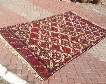 Vintage Turkish kilim rug, 104'' x 64'' area rug, kilim rug, kelim rug, vintage rug, bohemian rug, Turkish rug, rug, 471