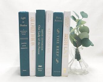 Decorative Books for Shelf Decor, Turquoise and Turquoise Books