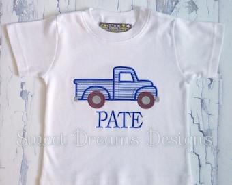 Boys appliquéd antique truck shirt. Available in long sleeve or short