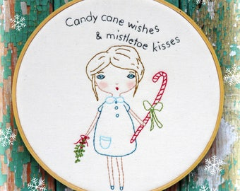 Christmas candy cane embroidery Pattern PDF girl - Mistletoe retro modern kiss hoop art wish