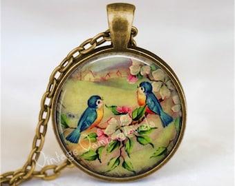 BLUEBIRD Pendant Necklace Jewelry Dogwood Flower Vintage Lovebird Glass Photo Art Gift for Bird Lover Bluebird of Happiness