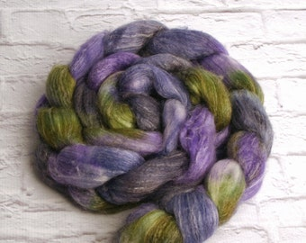 "Hand-dyed Combed Top (Roving) Spinning Fiber, Panda (Superwash Merino, Bamboo and Nylon) - ""Country Cabbage"" 4 ounces"