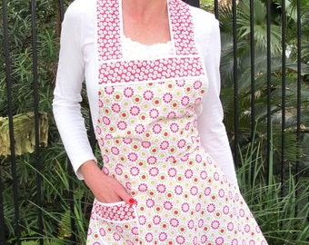 Cherry Pink Limeade Retro Style Apron - Flirty Everyday Housewife Apron