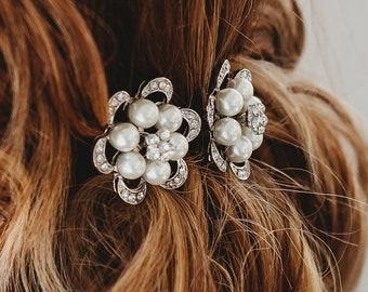 Crystal Wedding Hair Pin Bridal Hair Pin Crystal Diamante Ivory Pearl Accessory (Hetty Hair Pin )