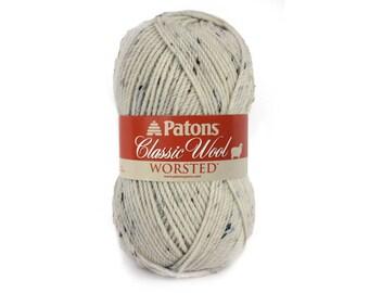 ARAN TWEED Patons Classic Wool yarn, Tweed wool yarn. Cream Flecked yarn. Patons Aran Tweed Wool Fleck yarn. Wool Blend Yarn. 3.5oz 100g <