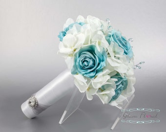 Aqua Blue Wedding Bridal Bouquet. Real Touch Flowers hydrangeas, roses, crystals Small Bouquet. Bride, Bridesmaid, MOH. Tea Rose Collection