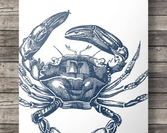 Navy blue Crab art print | Navy blue nautical wall art | nautical Printable wall art | Instant coastal art |  INSTANT DOWNLOAD