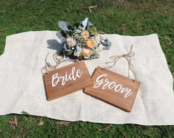 Rustic Wedding Chair Signs. Bride and Groom.  wedding sign.  Wedding Decorative sign. couple gift.