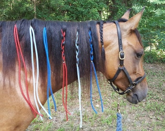 Patriotic Crin Dreads for Horses - Equine Mane Ornaments -- Red White Blue Dreadlocks for Horse