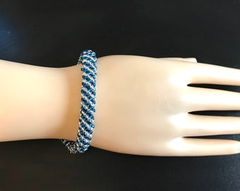 Blue Bead Bracelet, Blue Bracelet, Blue Beaded Bracelet, Blue and Silver Bracelet