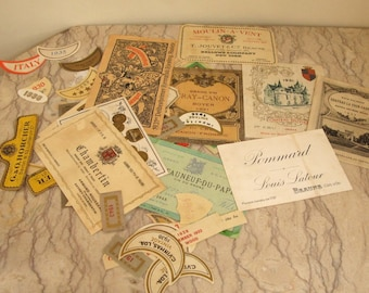 lot of early wine bottle labels