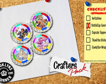 Candy Land Inspired - Crafters Pack - Set of 4 Flattened Bottle Caps - For Crafting, Hair Bows, Pendants, Magnets
