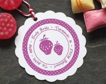 Strawberry stamps personalized with polka dots ø 40 mm