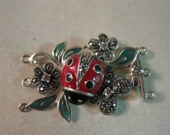 3-Strand Clasp, Sterling Silver, Marcasite, Cubic Zirconia & Enamel, Lady Bug on a Flower, 37x26mm