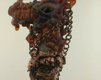Magic Wand - Glass Dragon - Heady Glass Red Dragon Staff - Hand Blown Borosilicate Glass Fantasy Art -  Cosplay Wizard Staff - Witches Wand