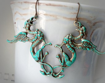 Dragon earrings Verdigris Gryphes, lion and eagle, Medieval style mystical griffins gryphon, solid oxidized brass, extra long, dragon slayer