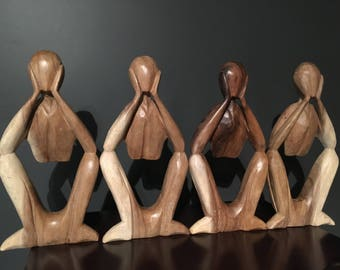 Wood Abstract Thinking Body Sculptures (set of  4)// Abstract Wood Sculptures// Thinking Statue