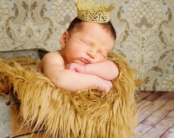 Lace Crown, Newborn Mini Gold Lace Crown, Newborn Photography Prop, Baby Crown, Gold Lace Crown