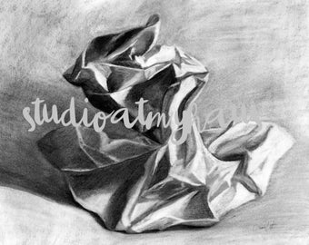 Crumbled Paper in Charcoal Vintage