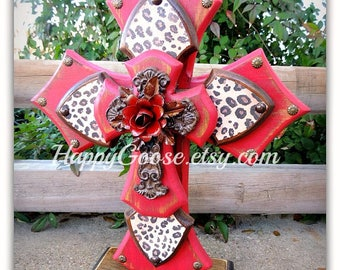 Large Standing Cross - Antiqued Red, Stain, Leopard/Cheetah print, and iron cross with red iron rose