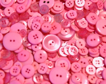 100 Pink Buttons,  Mixed Assorted sizes, Sewing buttons, Craft buttons, Grab Bag  Crafting  Jewelry (1363)