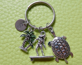 Surf initial stainless steel Keyring