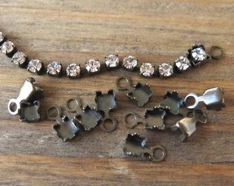 18PP (2.5mm) Crimp Ends for Rhinestone Chain Oxidized Brass Findings New (12)
