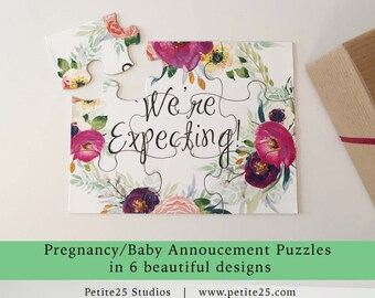Pregnancy baby announcement puzzle, pink sash, we're having a baby, you're going to be grandparents, new parents, another pea to our pod