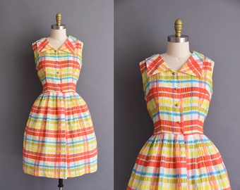 ON LAYAWAY...vintage 1960s colorful plaid cotton full skirt sun dress Large vintage 60s plaid cotton sun dresss