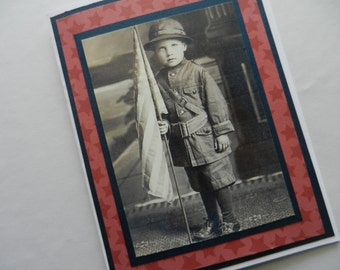 Patriotic Card 4th of July birthday, Military, Honor Flight,  Birthday, Veterans Day Greeting Card with scanned image of 1900 child and flag