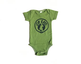 PLANET EARTH Kid's organic cotton Go Easy onesie infant newborn baby bodysuit MOSS bright green & blue Earth little environmentalist